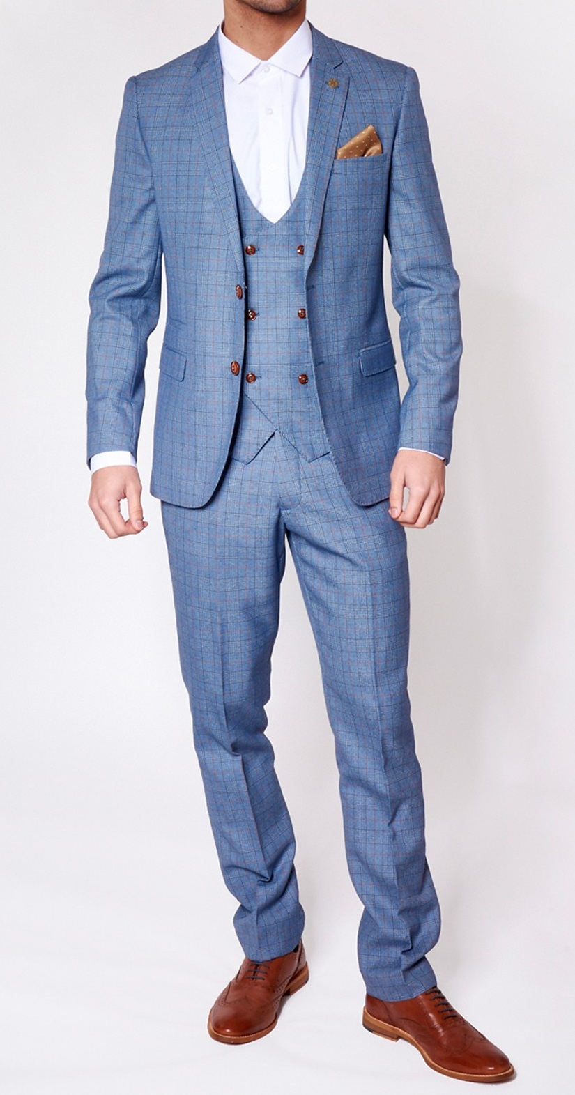George Light Blue Check Print Three Piece Suit | Suits Delivered ...