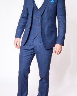 Richmond Blue Sharkskin Three Piece Suit | Suits Delivered Online Ireland