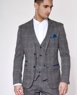 Suits Delivered | Men's stylish and affordable suits online Ireland | Scott Grey Tweed Check Print Three Piece Suit