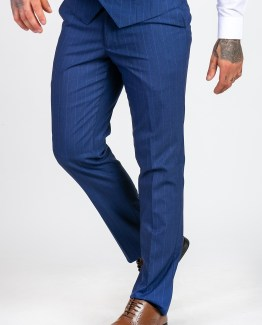 Conrad Royal Blue Double Breasted Stripe Print Three Piece Suit | Men's stylish and affordable suits online | Suits Delivered Online Ireland