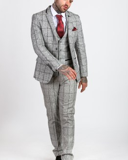 Jose Grey Grid Check Print Tweed Suit | Men's stylish and affordable suits online | Suits Delivered Online Ireland