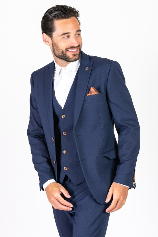 Max Royal Blue Diamond Print Three Piece Suit | Men's stylish and affordable suits online | Suits Delivered Online Ireland