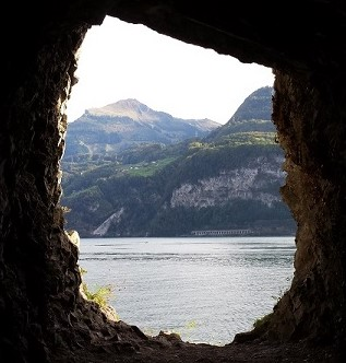 A perfectly framed view from an opening in the tunnel