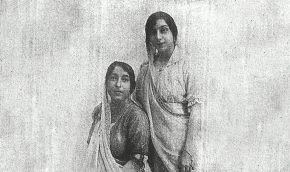 Mithan, standing by her mother, Herabai, in 1919