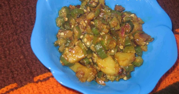 Bhinda Bataka(Okra and Potato Curry)