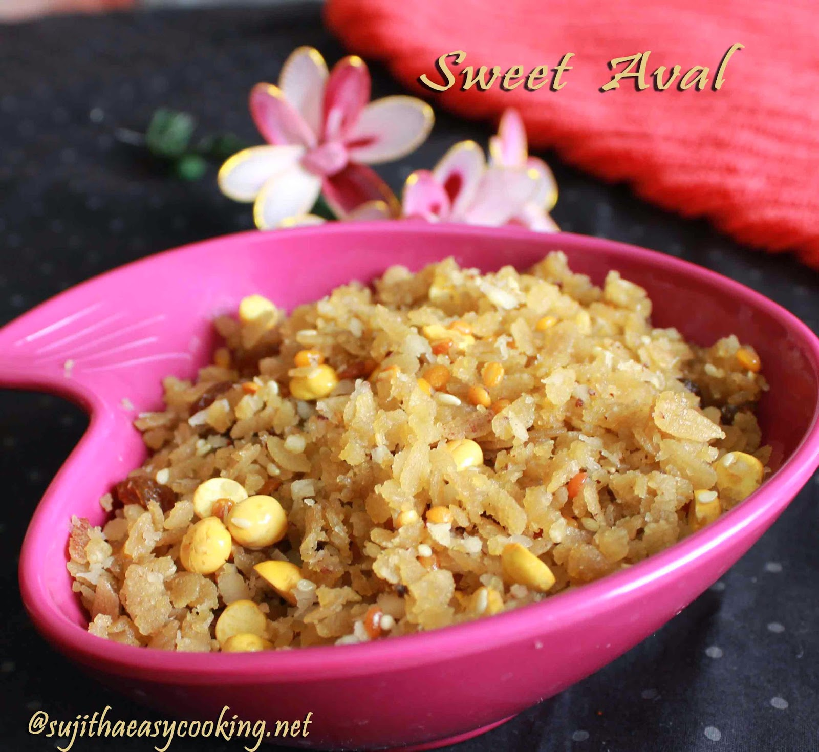 Sweet Aval/Sweet Poha/Aval with Jaggery