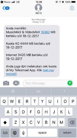 cara mengecek kuota telkomsel via sms
