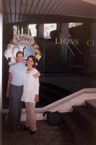My Russian roomate Irina and I outside the Lions HQ at Paris
