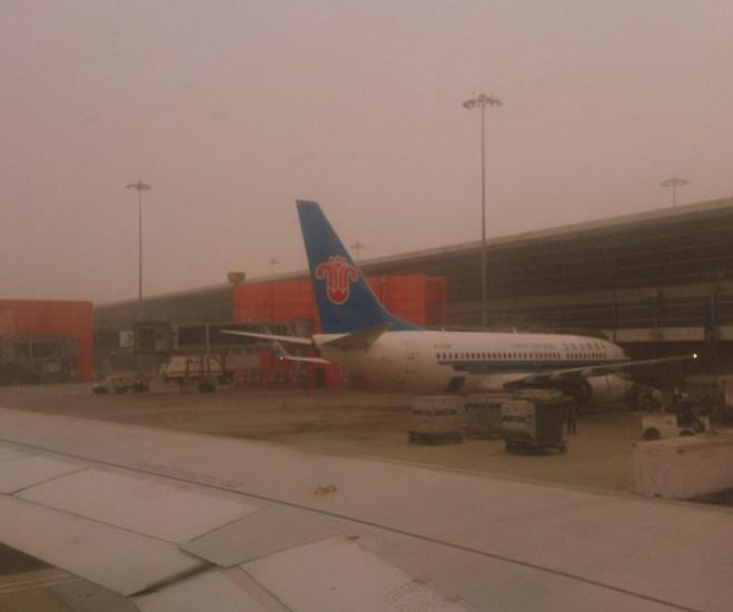 China Southern at Foggy Delhi