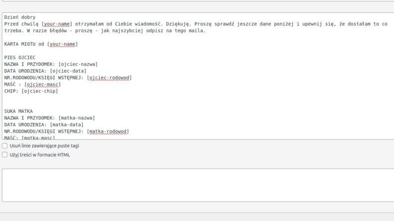 Przykład zastosowania - fragment wiadomości mailowej wysyłanej do hodowcy