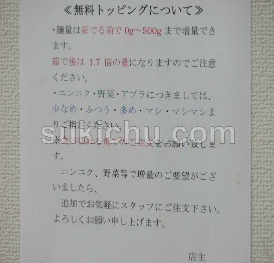 ラーメン富次郎上水戸本店掲示物