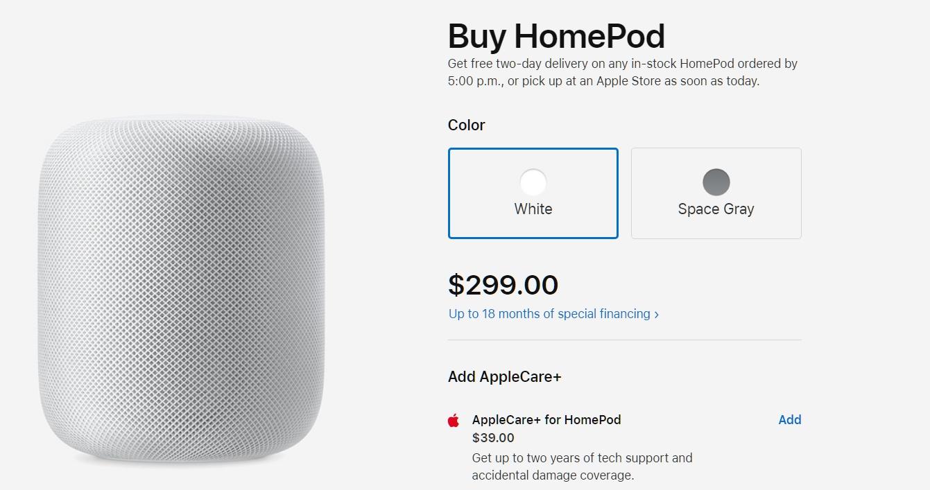 HomePod 蘋果美國官方售價