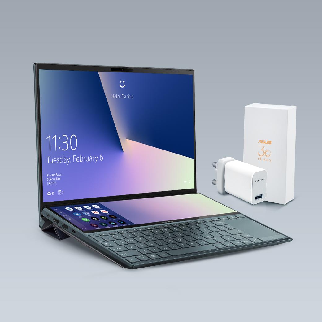 ASUS ZenBook Duo送旅行萬用轉接頭及筆電立架。