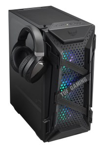 ASUS TUF Gaming GT301電競機殼隨貨附贈可吊掛於機殼兩側的活動式耳機架,方便玩家盡情展現武力裝備、主宰戰場。