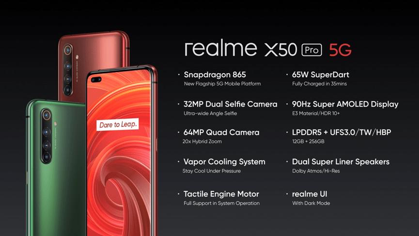 realme X50 Pro搭載Snapdragon 865、6400萬鷹眼變焦四鏡頭、3200萬超廣角雙前鏡頭、90Hz Super AMOLED以及65W SuperDart超級閃充。