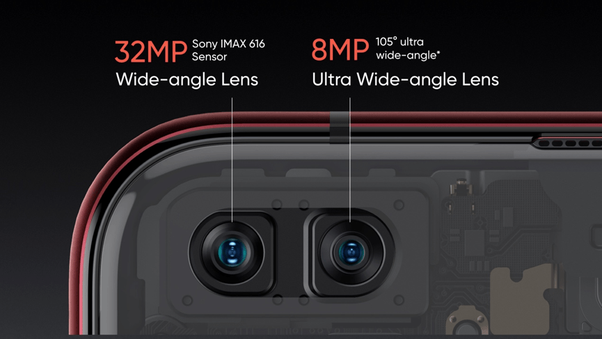 realme X50 Pro 5G前鏡頭配置3200萬主鏡頭與800萬105°超廣角鏡頭。