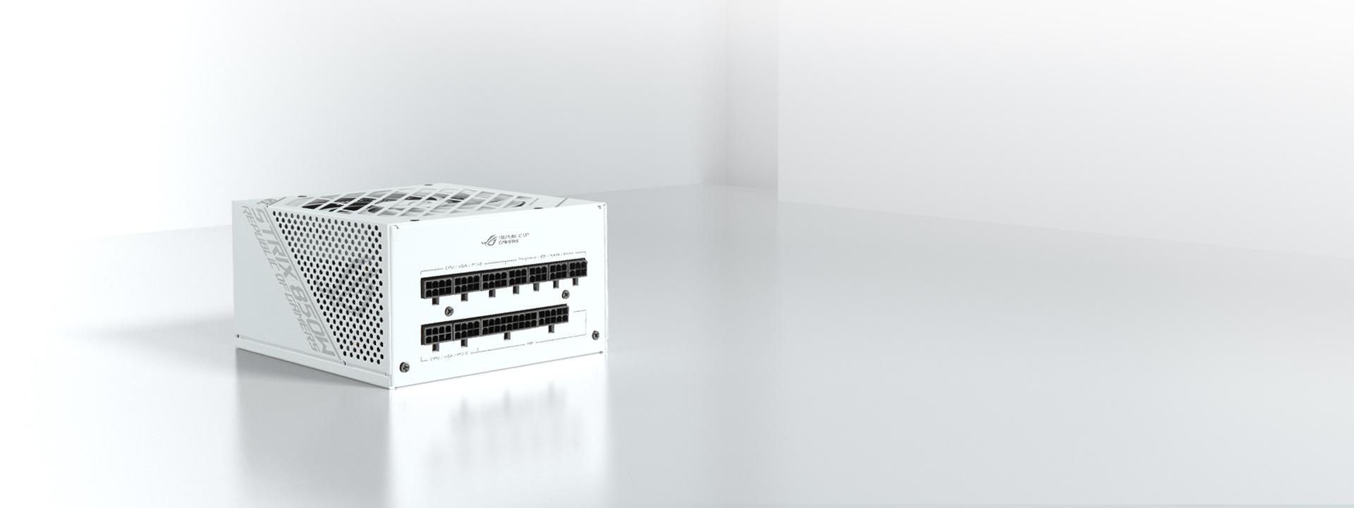 ROG Strix 850W金牌電源供應器具備標準黑色與限量的潮競白兩款風格配色,讓玩家輕鬆展示獨一無二的電競風格。