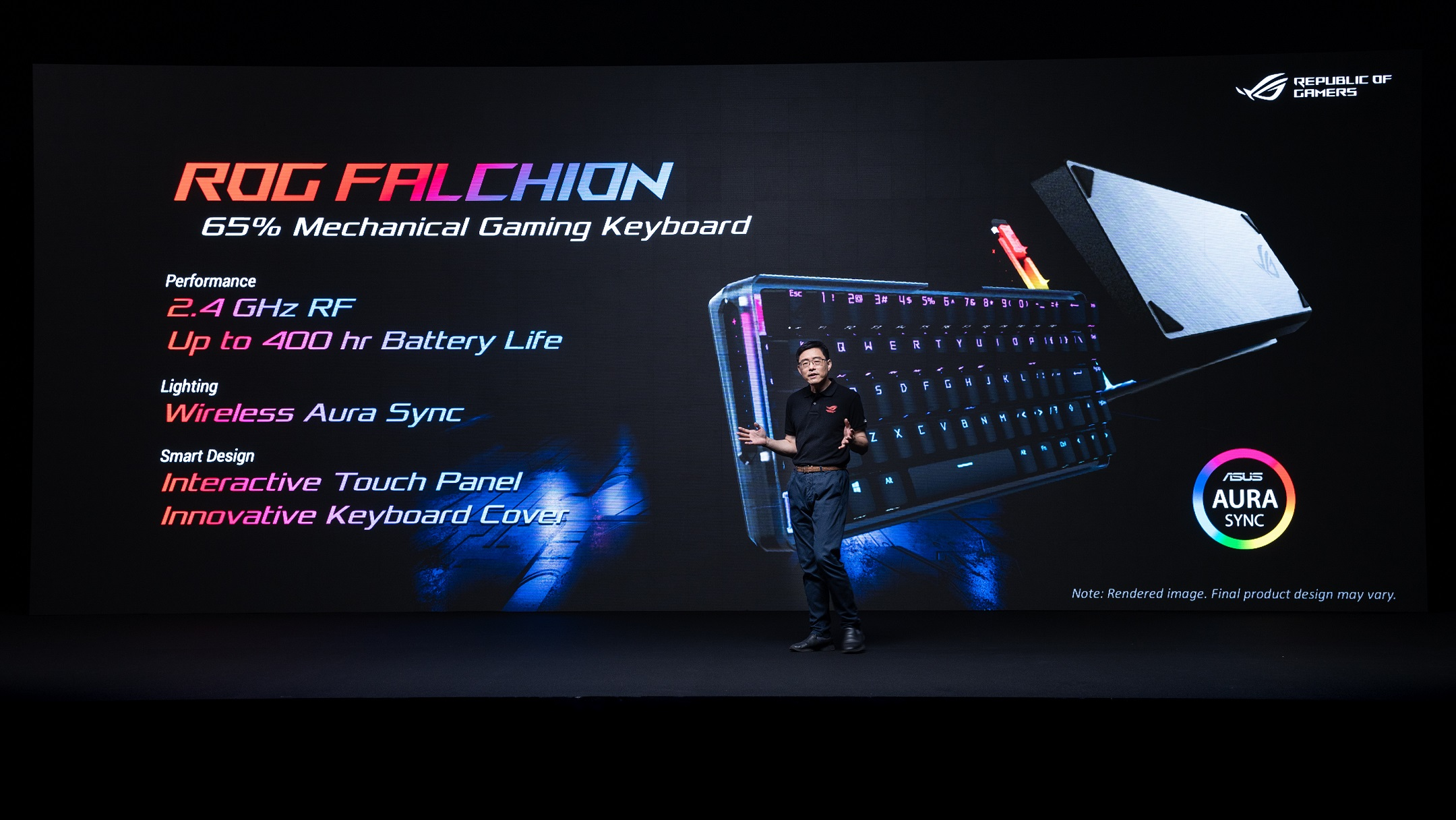 ROG Falchion無線機械式鍵盤,可提供遊戲玩家1ms、2.4 GHz疾速連線,和長達400小時的電力續航,將徹底激發遊戲玩家無限潛力。