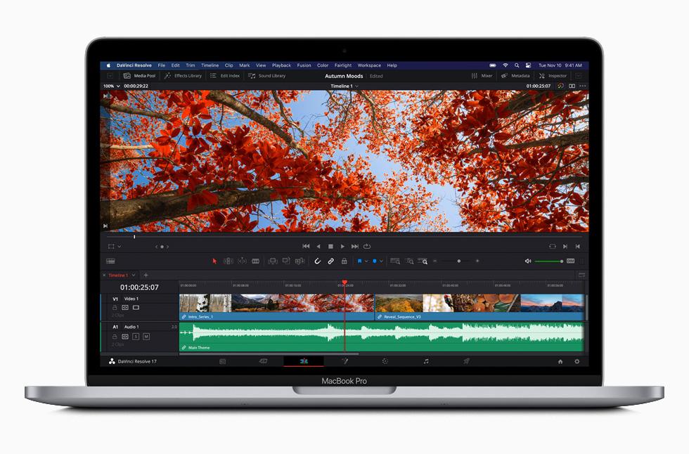 在 M1 加持下,13 吋 MacBook Pro 速度提升最快達 2.8 倍,因此,使用者可以無比輕鬆地編譯程式碼。