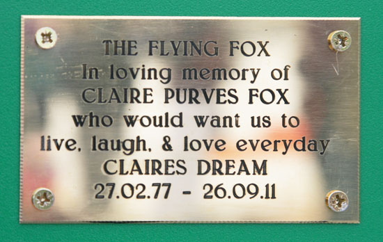 ....with a memorial plaque to Claire