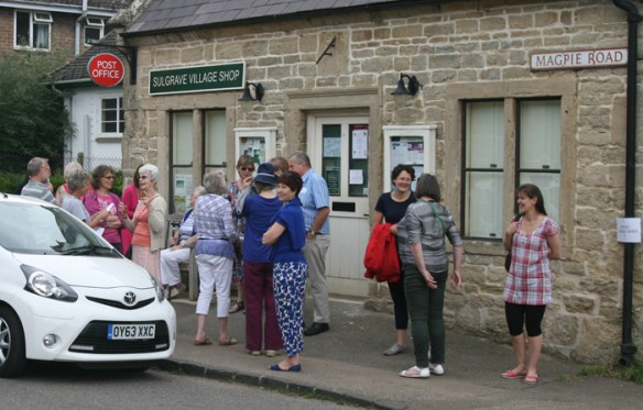 SWAG members and guests meet at the Village Community Shop
