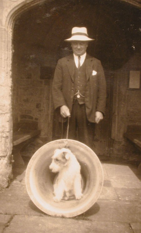 Bell given to Sulgrave Church by Cecil Walton in 1932 in memory of his wife Cissie (with Wally the dog).