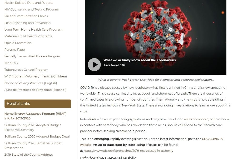 County Launches Coronavirus Webpage   Sullivan County NY