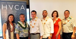 Sultan Ventures Meli James and Tarik Sultan with Governor David Ige, University of Hawaii Vassilis Syrmos, Hawaii Angels Chenoa Farnsworth, and Chamber of Commerce Hawaii Pono Chong at HVCA monthly luncheon.