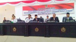 Rapat paripurna DPRD terkait visi misi Bupati dan Wakil Bupati Konawe, Kery Saiful Konggoasa dan Gusli Topan Sabara, Selasa (25/9/2018). (Foto: Mas Jaya / SULTRAKINI.COM)