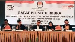 Rapat pleno terbuka penetapan perolehan kursi parpol dan caleg terpilih DPRD Kota Kendari, Senin (22/7/2019). (Foto: Nely/SULTRAKINI.COM).