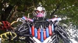 Robot Antravi buatan Satlantas Polres Kendari dari knalpot bogar hasil sitaan pelanggaran lalu lintas, (Foto: Hardiyono Zimani/SULTRAKINI.COM)