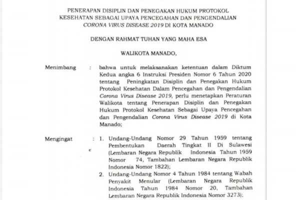 Percepatan Penanganan Covid-19 di Kota Manado, Walikota Terbitkan Perwal Nomor 24/2020 Tentang Penerapan Disiplin dan Penegakan Hukum Protokol Kesehatan