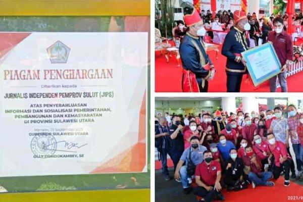 JIPS Terima Penghargaan dari Gubernur Olly di HUT ke 57 Provinsi Sulut