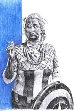 Amerikanka - drvene bojice i presovani ugljen na papiru