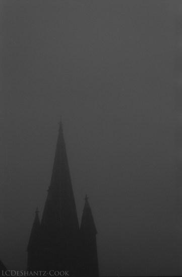 church steeple in fog, Kodak Tri-X 400, Minolta SRT 102