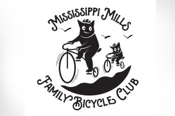 Family Bicycle Club: An illustration for the Family Bicycle Club logo — a group of family and friends within the Mississippi Mills area who work to bring together members of the community of all ages and ability levels to get outdoors and enjoy fun and friendly bike rides.