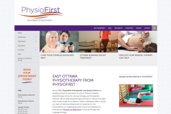 Physiofirst Orthopaedic and Sports Centre: Since 1996, Physiofirst has steadily earned its reputation as one of Ottawa's leading physiotherapy clinics for manual therapy and therapeutic exercise. In February 2015, my web partners and I put together a new brand and website to create a more professional, clean online presence for this highly successful and recognized clinic. To see the full site please go to: https://physiofirstottawa.com.