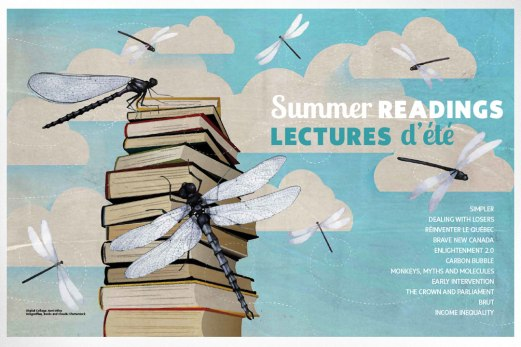 Special section full page spread on summer reading for 2015 July/August issue of Policy Options magazine. Stock art was sourced and used to develop a charming and compelling design featuring dragonflies whirling about against a summer sky and alighting on a stack of books.