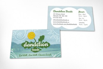 Business cards designed for local health food store. Design was based on website design and uses the farmer's field background and engaging corner graphics developed for store branding. Logo was also designed at Sumack Loft.