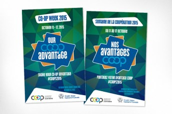 Co-op week is the opportunity for Canadian co-operative and credit union members to celebrate their achievements. A lively, engaging design was developed which leverages the look and feel of the existing International Credit Union Day poster. Logo was also designed at Sumack Loft.