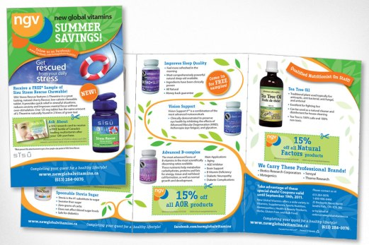 Brochure designed a few years ago for New Global Vitamins. The client wanted a design that was fresh and natural feeling and which conveyed an established and professional business. A bright, fresh colour palette based on existing company branding was created, with graphics that reflect the natural world, and breathing room for each product.