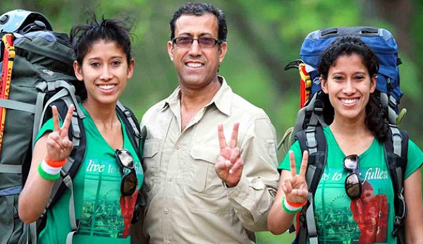 Tashi and Nungshi, with their father Virender Malik.