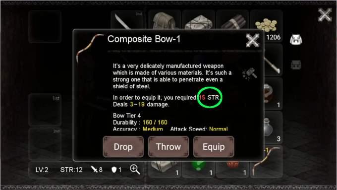 Darkness Survival STRポイントのチェック
