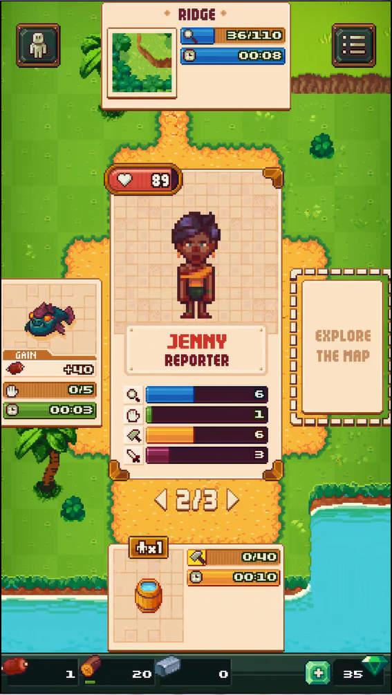 Tinker Island ゲーム画面