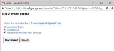 Backup Gmail Emails Import option image