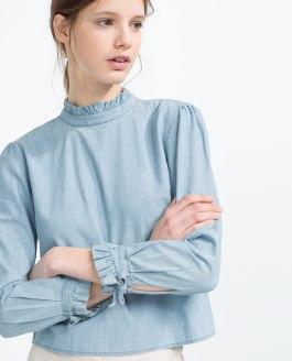 Camisa cuello plisado - Zara