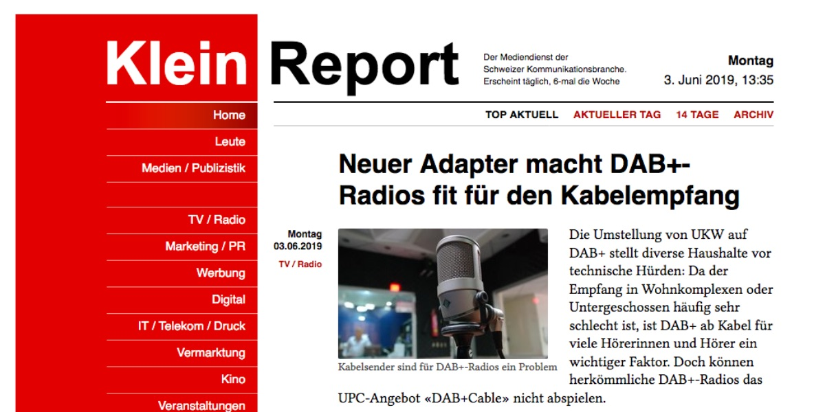 Klein Report berichtet über DAB+ Cable Adapter