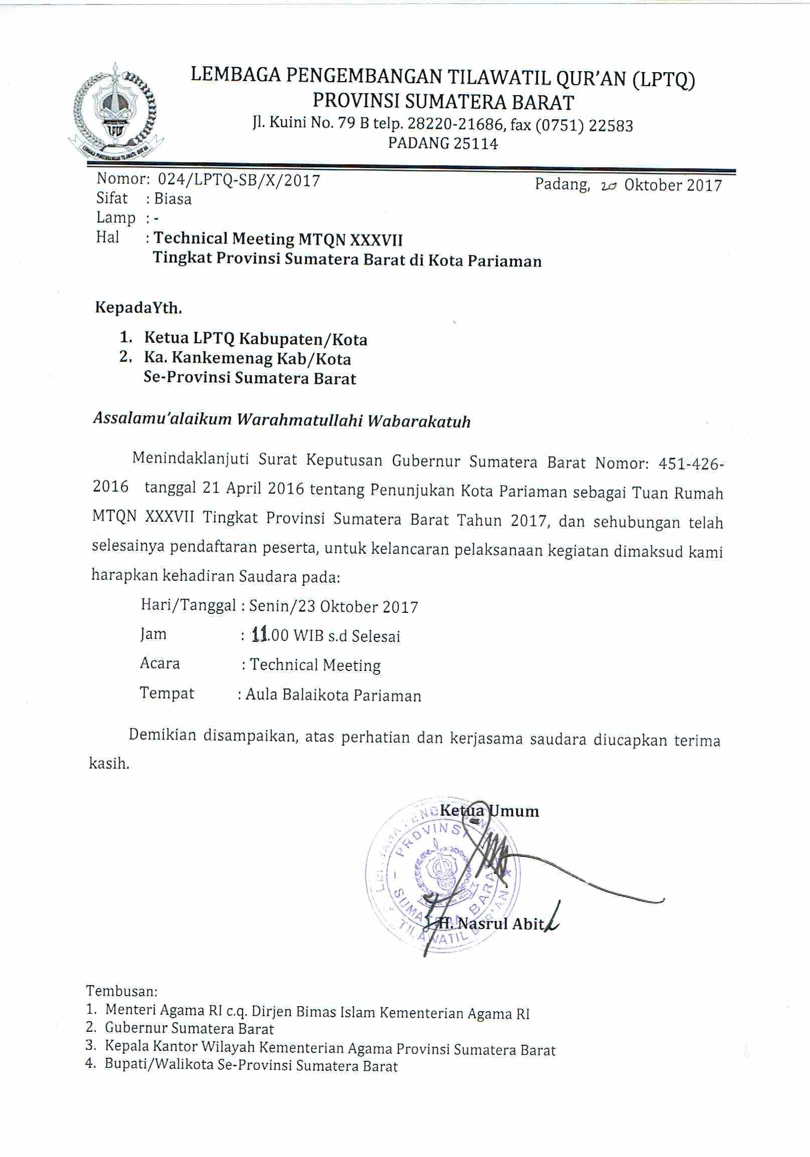 Contoh Surat Undangan Resmi Untuk Gubernur : contoh, surat, undangan, resmi, untuk, gubernur, Surat, Undangan, Technical, Meeting, XXXVII, Tingkat, Provinsi, Sumatera, Barat, Kementerian, Agama