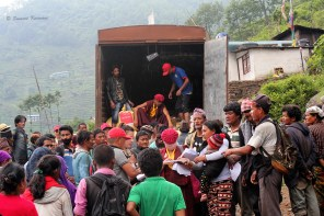 As it started pouring, many concerns appeared. The villagers were worried about keeping their ration dry. We were worried about making the climb down with an added risk of rain-triggered landslides.