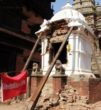 Bhaktapur Durbar square was one of the Unesco Heritage sites to have faced catastrophic damage in the April temblor. Many grand structures fell to the quake. Many stood reduced to crumbling piles of bricks.